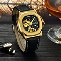 Gold Men Automatic Mechanical Watches Mens Luxury Brand MCE Watch Waterproof Leather Skeleton Casual Wristwatch Reloj Hombre