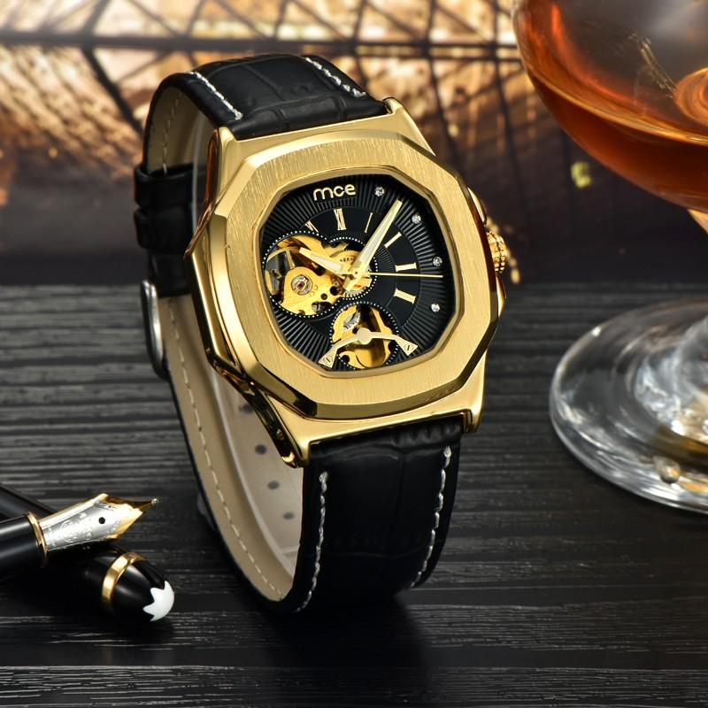 Prix pour Mce marque de luxe squelette carré mécanique montres en cuir or automatique montre hommes imperméable casual montre-bracelet reloj hombre
