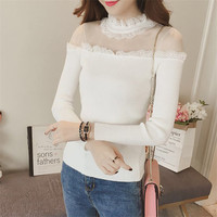 New Women Half Turtleneck Sweater Autumn Winter Mesh Lace Patchwork Knitted Pullovers Backless Basic Sweaters Female