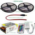 2*5M 10M RGB Led Strip 5050 SMDDC12V 60LEDs/M Flexible Tape Light + 24Keys IR Remote Controller +12V 5A Power Supply Transformer