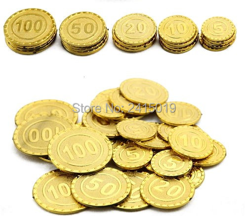 Free ship <font><b>cool</b></font> 100pc plastic Spanish pirate treasure gold coins props <font><b>toys</b></font> <font><b>for</b></font> Birthday party favors cosplay <font><b>kids</b></font> hours fun image
