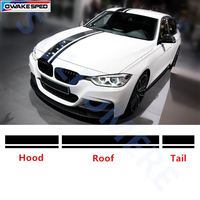 Car Hood+Roof+Tail Sticker Whole Body Decal Racing Sport Stripes For BMW 1/3/5 series GT F10 F20 F30 M3 M4 M5 M6 X1