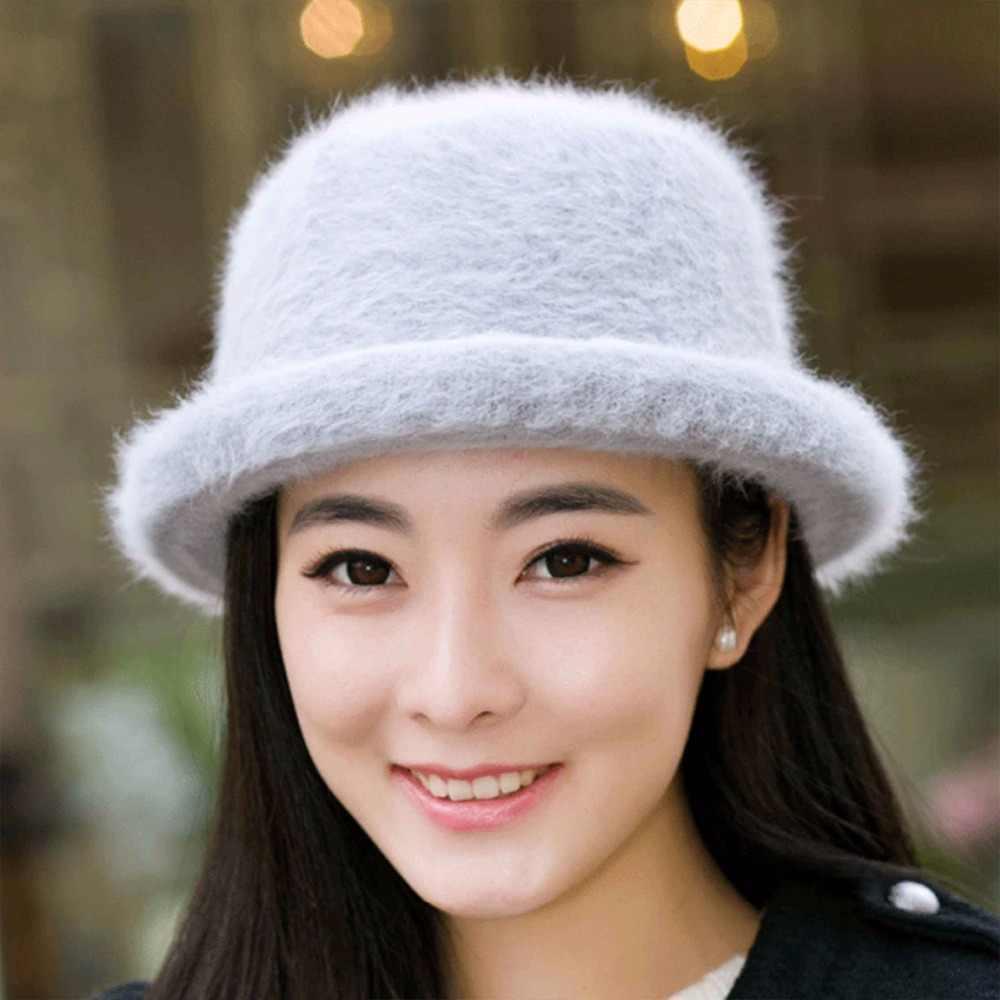 fdfbe032293 ... Hot Sales Winter Bucket Hat for Women Rabbit Wool Warm Solid Pink  Floppy Hats for Women ...