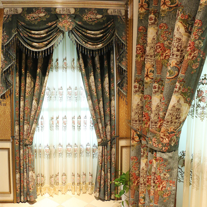 Hot Sale Modern Luxury Valance Floral Curtains For Window