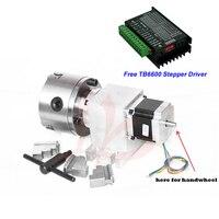 65MM altura do Centro 3 mandíbula Mandril 100 milímetros CNC Eixo Unidade Harmônica + TB6600 4th Stepper Driver de Motor para router