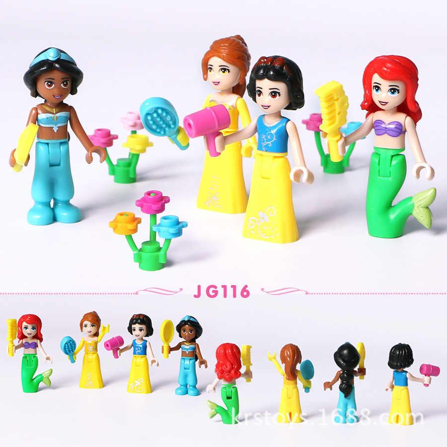 8 шт. сказочная принцесса девушка Legoings друзья модель строительные наборы игрушечные фигурки блоки-кирпичики Детские Друзья игрушка-подарок для детей