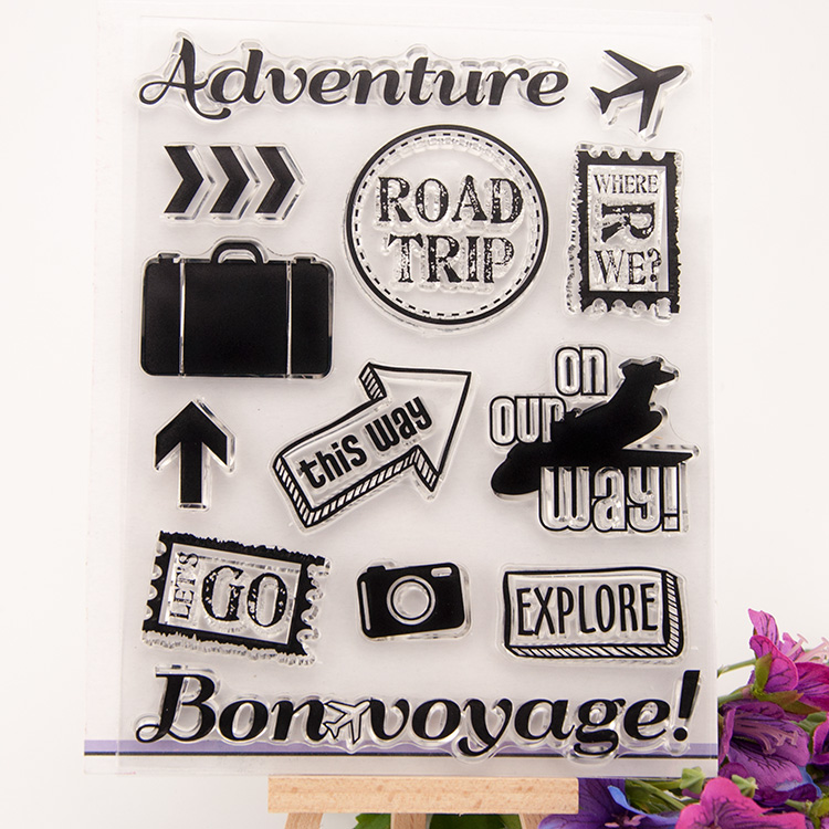 Scrapbook DIY photo cards Adventure road Trip stamp clear stamp transparent stamp for wedding Christmas gift photo album fred and ted s road trip