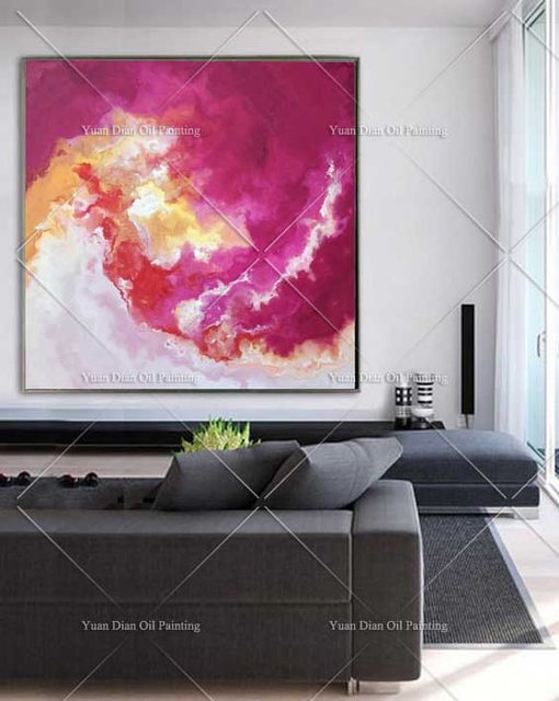 Online Shop Pink Red Circle Burning Handpainted Abstract Landscape ...