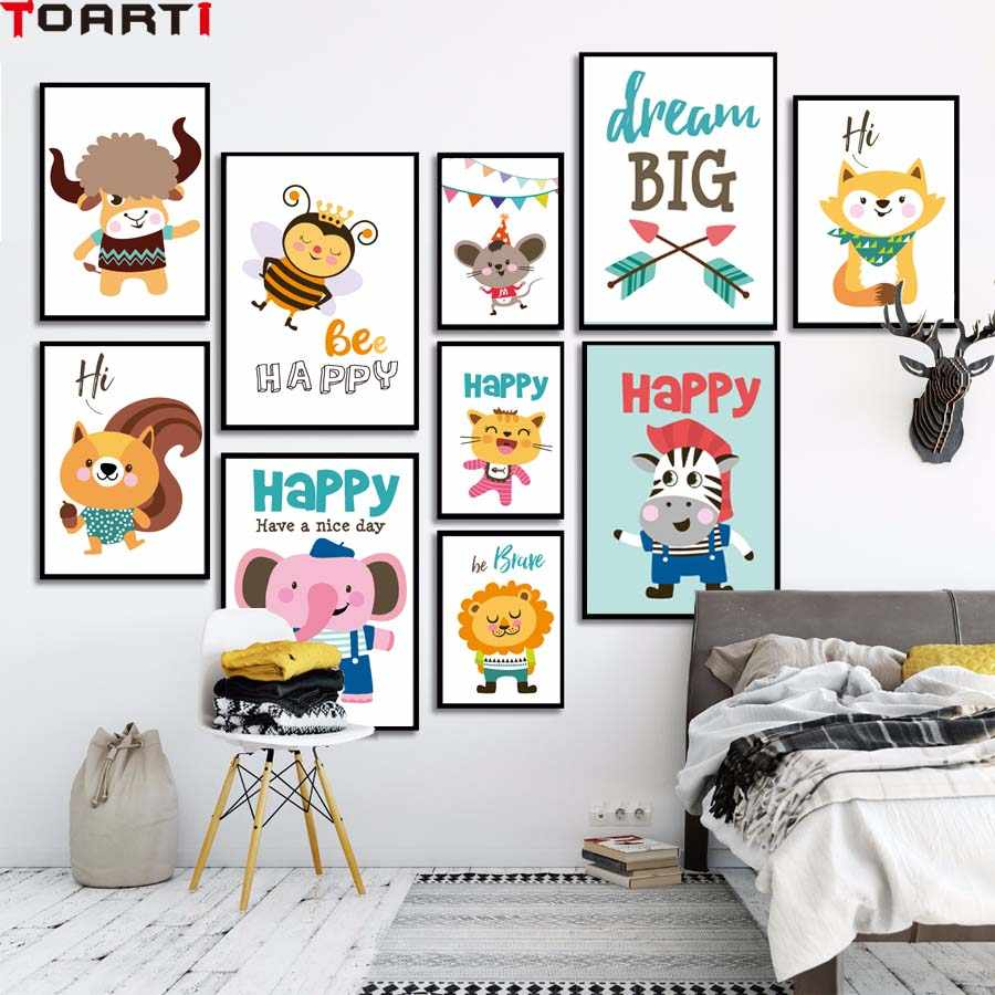 Happy Be Brave Dream Big Cartoon Cute Animals Wall Art Poster Canvas Painting Modular Picture Modern Home Decor For Kids Room