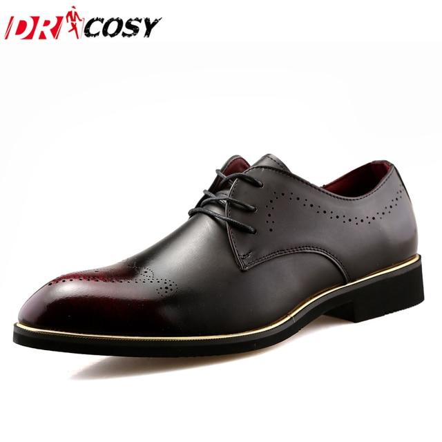 52a038712 Italiano Brogue Formal Homens Vestido Sapatos de Couro Genuíno Sapatos de  Casamento Moda Festa Do Escritório