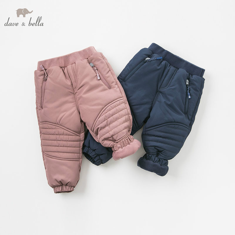 DB9633 dave bella winter unisex baby fashion padded trousers kids solid fashion pants children boutique clothes