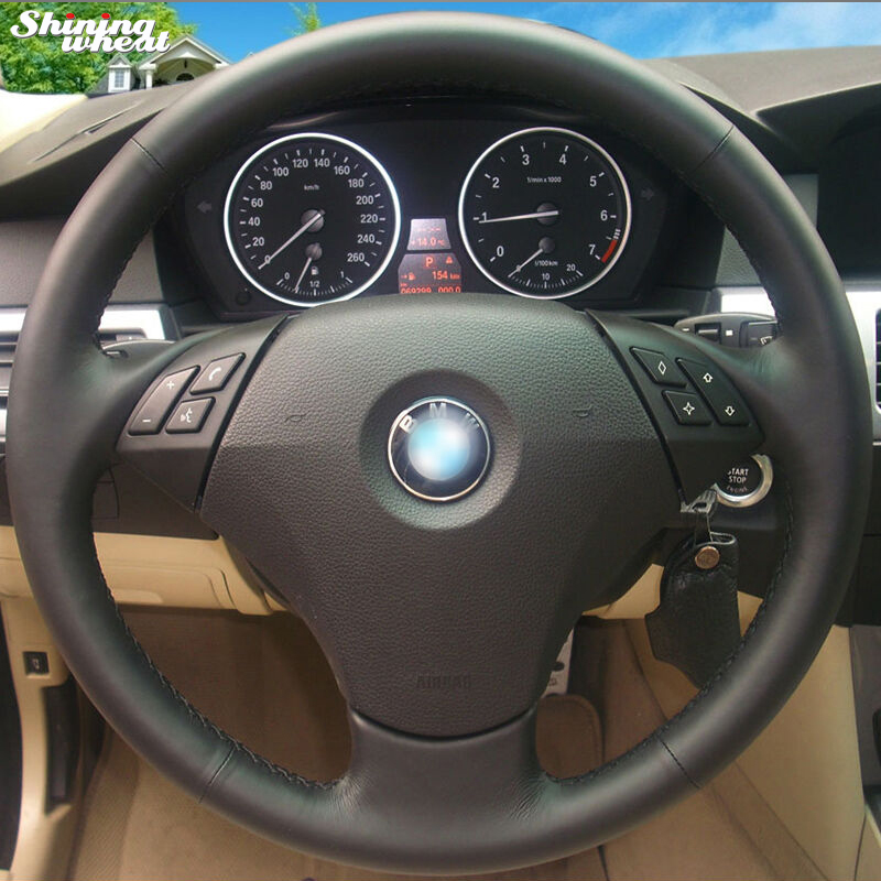 Shining wheat Hand stitched Black Genuine Leather Car Steering Wheel Cover for BMW 530 523 523li