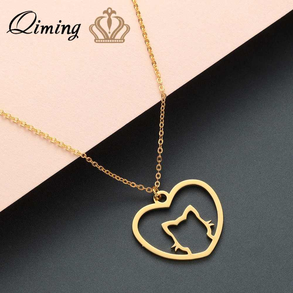 QIMING Lovely Animal Love Cat Necklace Simple Women Girls Jewelry Birthday Gift Stainless Steel Best Friend Necklaces