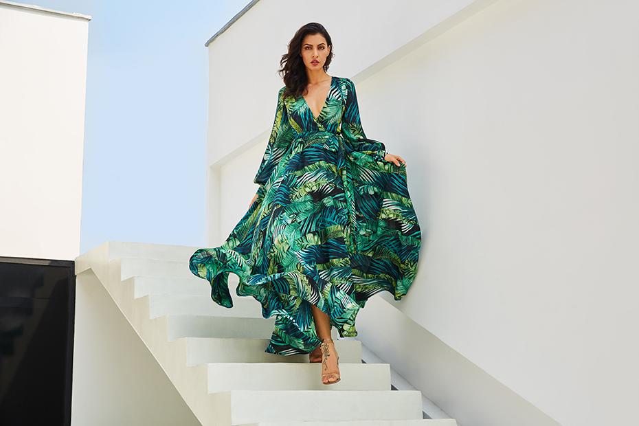 1cc7b635b5c Long Dress Bohemian. Long Dress Bohemian Long Sleeve Dress Green Tropical  Beach Vintage Maxi Dresses