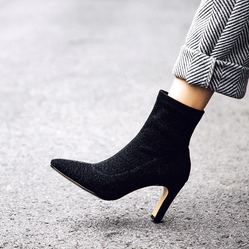 Lentejuelas Vestir Tobillo De plata Vestido Sexy Zapatos Puntiaguda Altos Tacones Punta Botas Nuevo Tela Finos Negro Mujer Con Rpw1O
