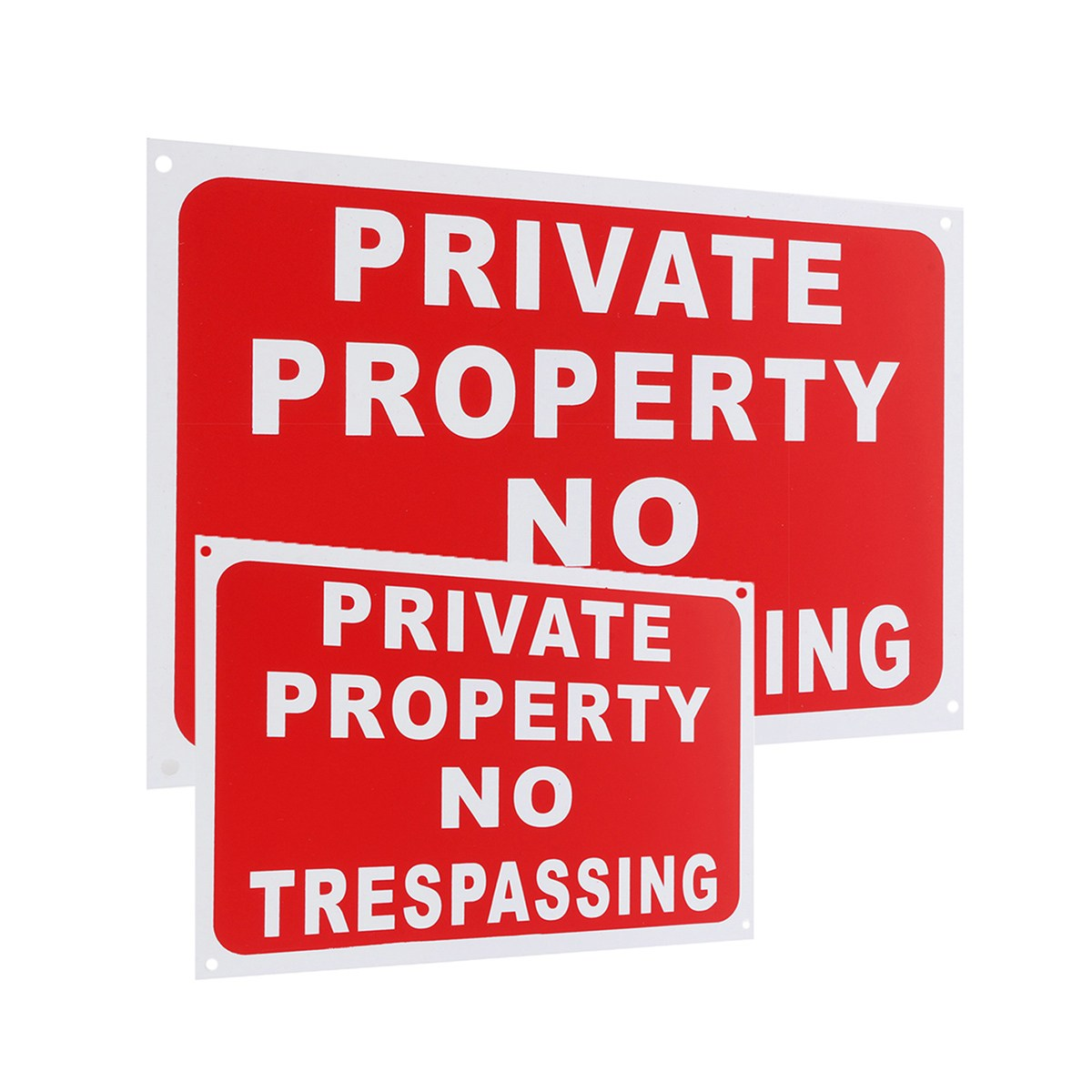 NEW Private Property No Trespassing Plastic Stickers Security Signs Decal 2 Sizes  Workplace Safety Warning