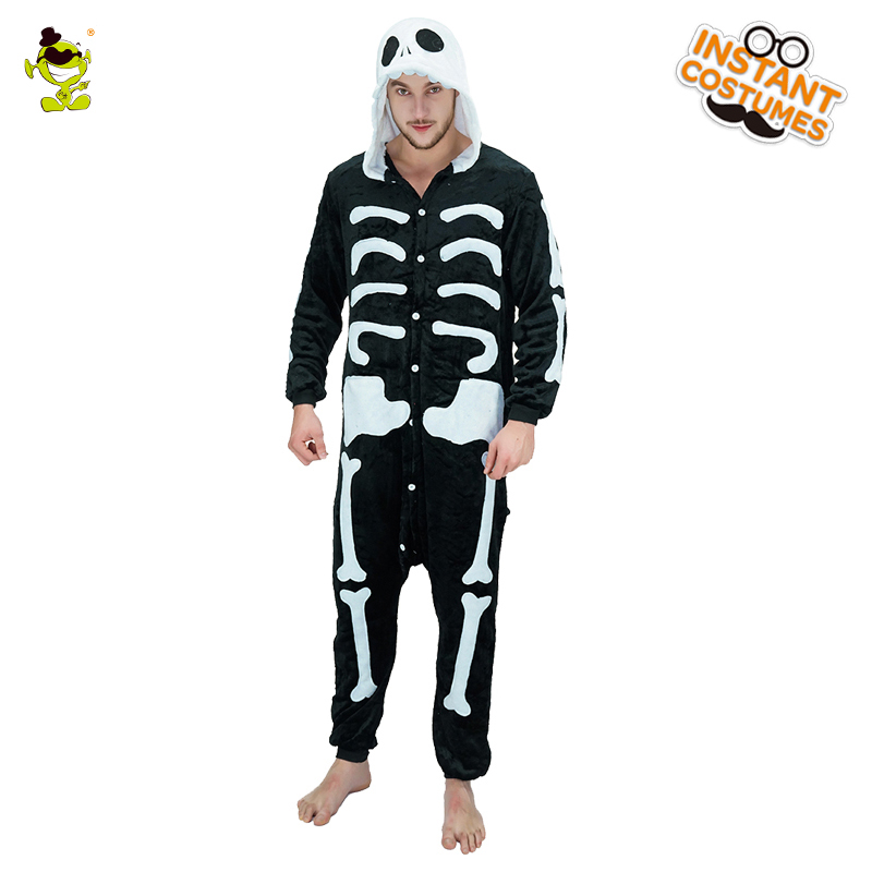 Unisex Adult Scary Skeleton Animal Pajamas Costume Deluxe Jumpsuit Adult Halloween Role Play Party Fancy Jumpsuit Onesize1