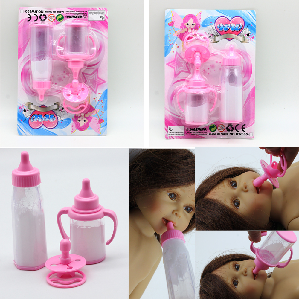 3pcs/set Magic mike bottle for 18inch American 16inch BJD dolls DIY baby doll feeding bottle feeder nipple toy milk bottle feeder needle cylinder type feeder feeds the baby to feed the water into his mouth to eat anti choking nipple type baby feeding