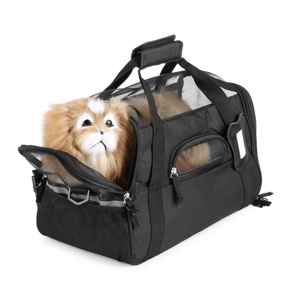 Pet Dog Carrier Cat Puppy Kitten Portable Travel Bag Adjustable Strap Safety Belt Buckle Comfortable Soft Bed Lightweight