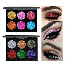 Купить с кэшбэком 6 Color Pressed Glitter Eyeshadow Pallete Glitter Diamond Shimmer Eye Shadow Waterproof Eyes Makeup Eyeshadows Pigment Powder