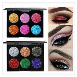 6 цветов прессованные блестящие тени для век Палитра блестящие алмазные мерцающие тени для век водостойкий макияж глаз искусственная пудра