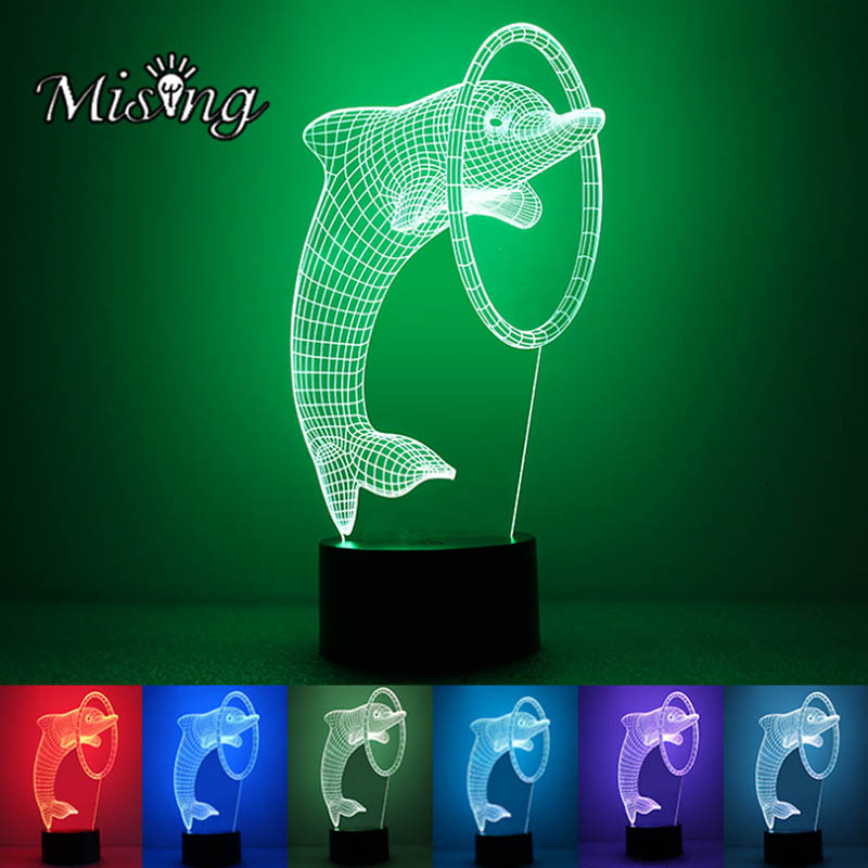 Mising 3D String Light Dolphin Shape Illusion Acrylic LED Night Light 7 Color Change Touch Switch Table Desk Lamp Art Sculpture