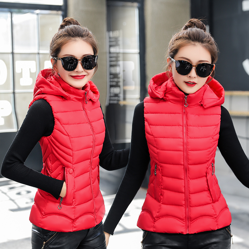 Women Autumn Winter Vest Casual Solid Slim Hooded Sleeveless Parkas Coat Two Pocket Waistcoat Cotton Padded Vest Female M-3xl