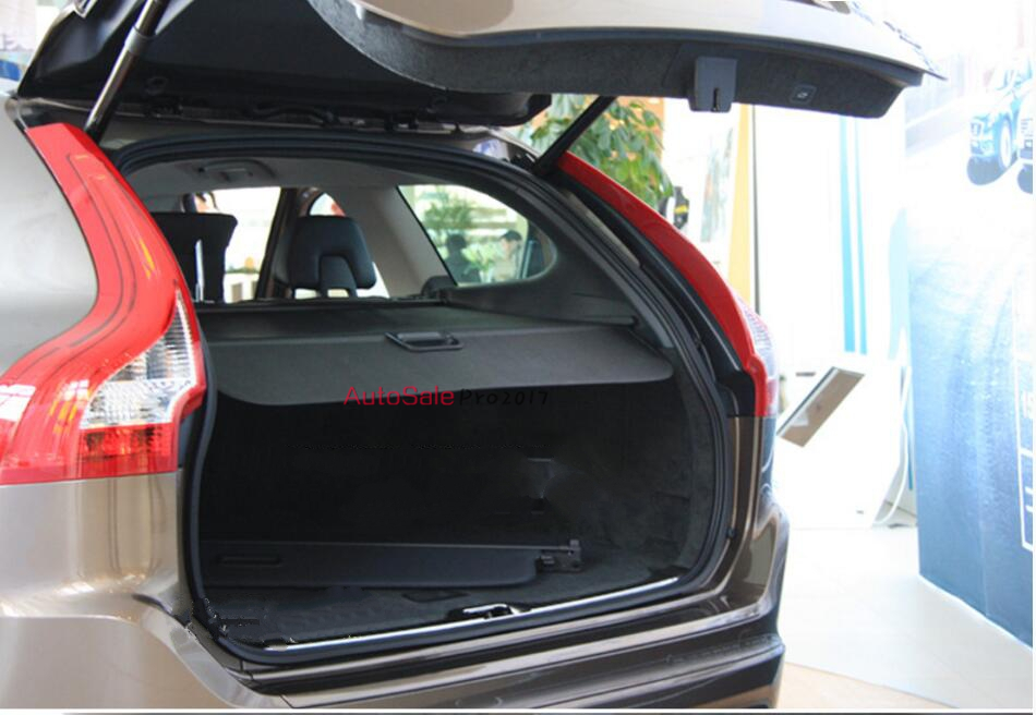 Black Retractable Rear Trunk Security Cargo Cover Shade Shield for VOLVO XC60 2009 2010 2011 2012 2013 2014 2015 for nissan x trail 2008 2009 2010 2011 2012 2013 retractable rear cargo cover trunk shade security cover black auto accesaries
