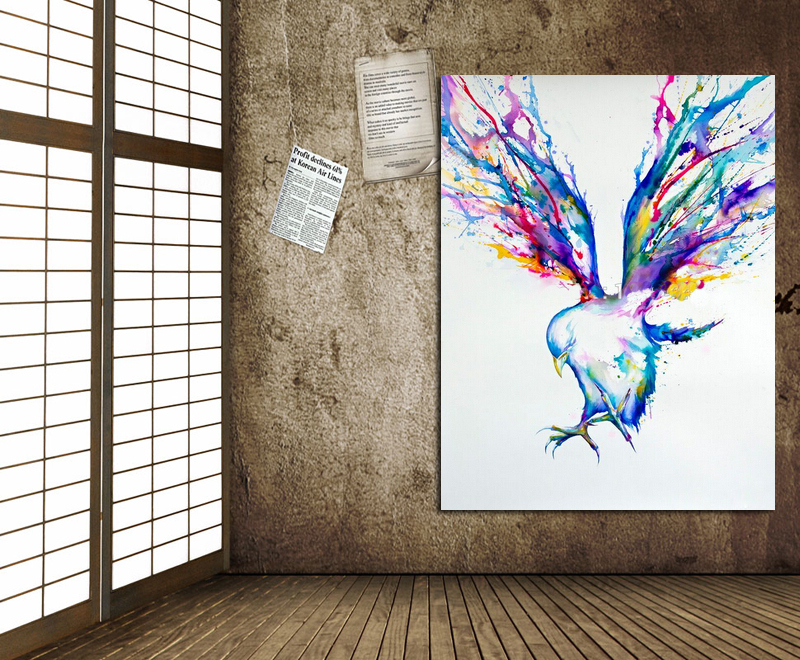 Handpainted Abstract Wall Art Oil Painting Colorful Flying Birds Paintings  On Canvas Modern Art Best Gift Pictures Home Decor In Painting U0026  Calligraphy From ...
