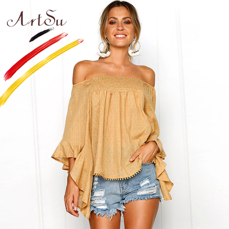 ArtSu Boho Womens Tops And Blouses Off Shoulder Ladies Leaf Print Oversized Shirt Casual Blouse 2018 Summer Ruffle Beach Chemise