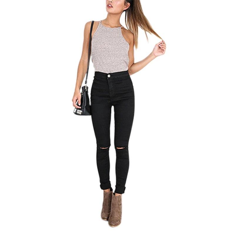 614cd6d53b5 Прямо Высокая Талия Рваные Джинсы Для Женщин Осень Белый Женщины джинсы С Высокой  Талией Стильные Джинсы Женщина Плюс Размер Джинсы Femme