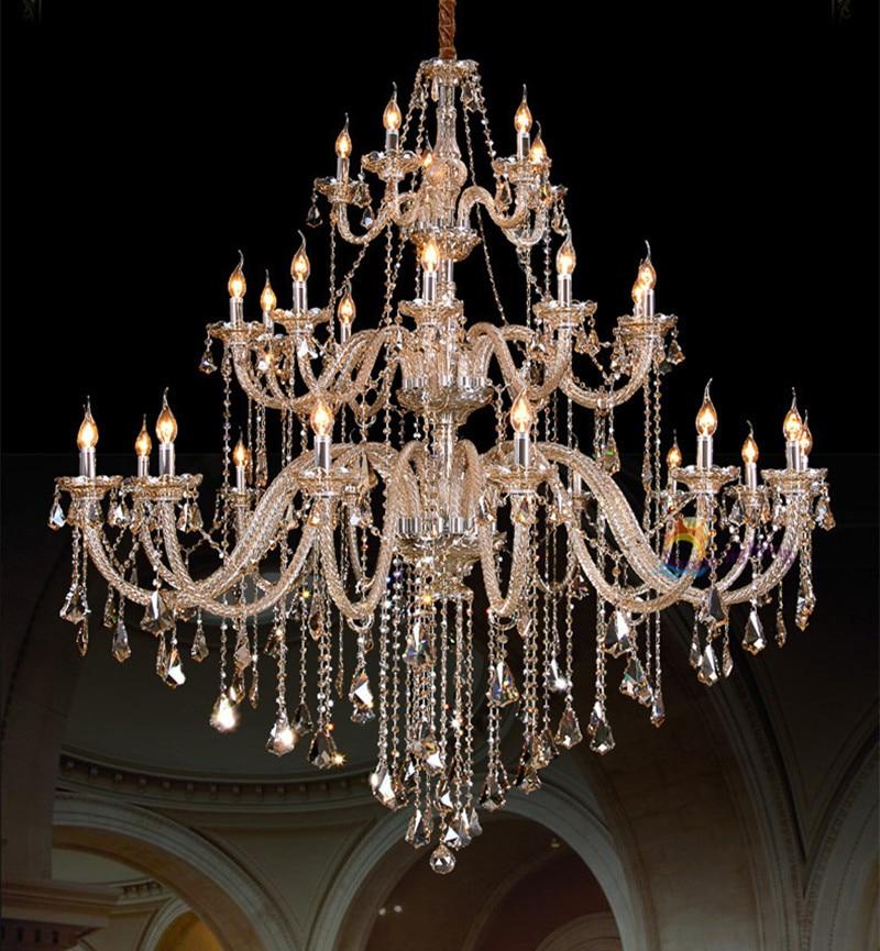 Large Chandelier Grand Crystal LED Lights Candle Lamps 30 Lights D150 H160cm Hotel Crystal Hanging Lights