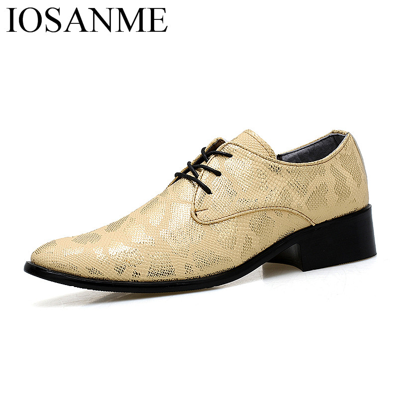 Shoes Designer Snake Skin Fashion Leather Casual Shoes Men Party Height Increasing Gold Wedding Dress Male Footwear Oxfords For Men Men's Shoes