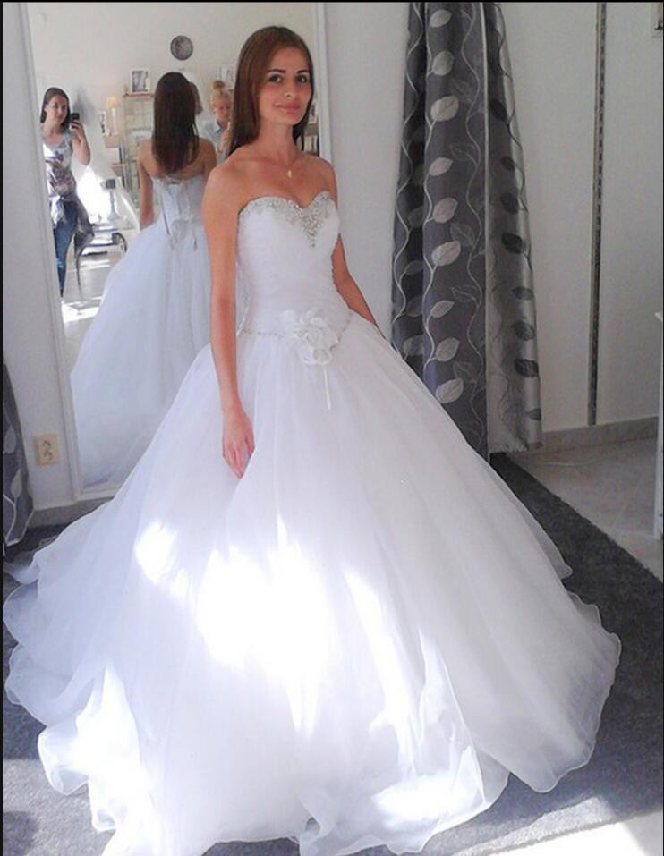 New Arrival 2017 Ball Gown Princess Wedding Dresses Modest Puffy Lace Up Corset Gowns Real Picture Dress In From Weddings
