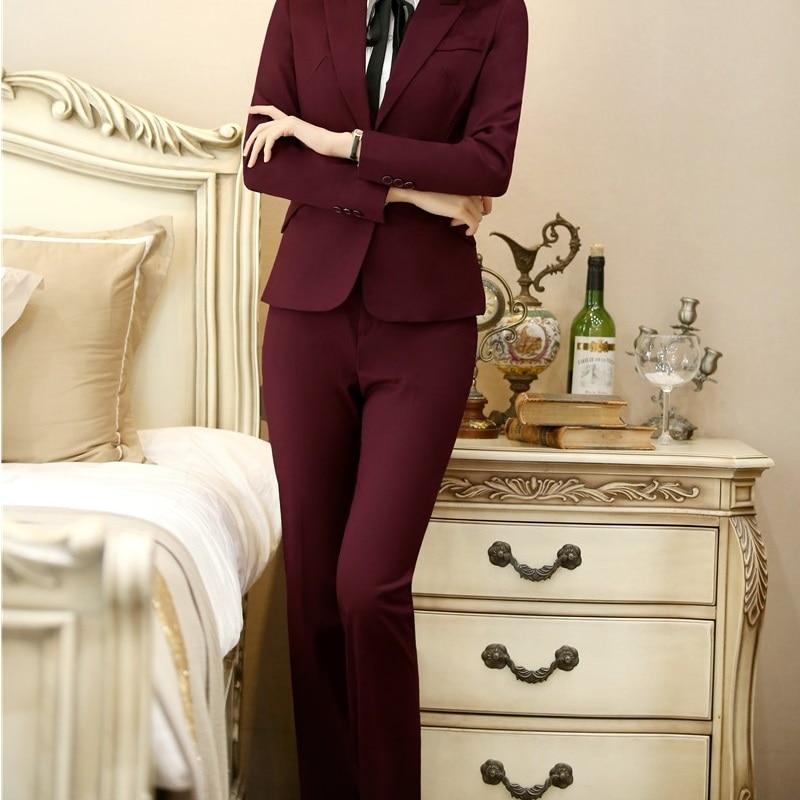 Fashion Wine Formal Uniform Designs Pants Capris Women Business Work Wear Trousers Spring Autumn OL Styles Pants Plus Size