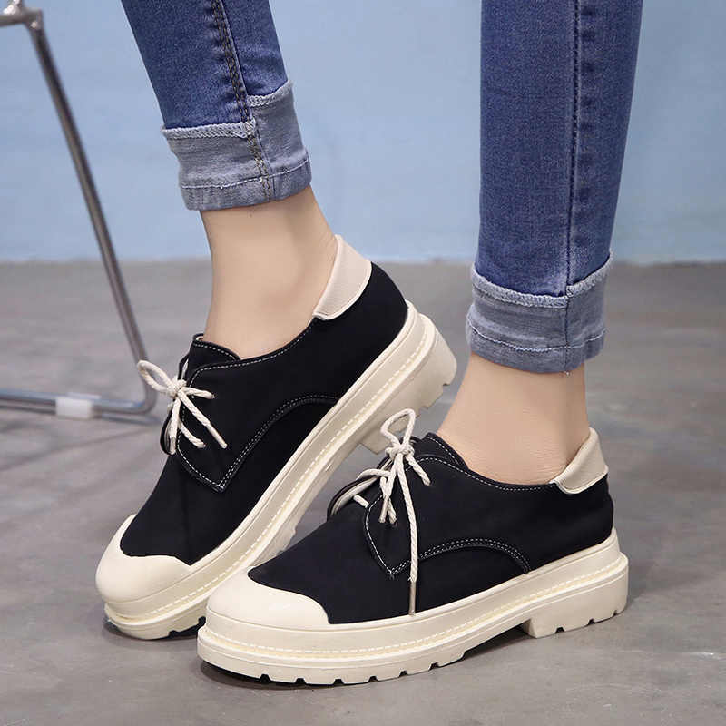 Moxxy 2018 Creeper Canvas Shoes Woman Vulcanization Shoes Woman Casual  Flats Platform White Shoes Female Black 69c6623f8cca