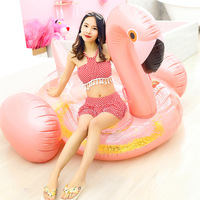 192CM Giant Rose Golden Sparkles Flamingo Inflatable Pool Float Ride On Glitter Lounger Water Floats Adult Water Party Toys boia