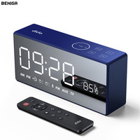LED Digital Remote Control Alarm Clock with Bluetooth Music Speaker Time Display Electronic TF Card Desktop Office Table Clock