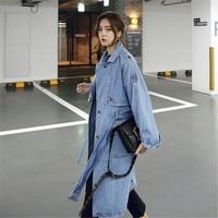 2018 Autumn Denim Jacket Long Sleeve Coats Womens Jeans Jacket Vintage Single Breasted Basic Jackets