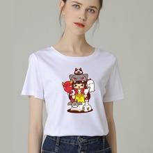 Fashion Women T-Shirt Big Plus Size Tshirt Femme Print Cute Elf Girl T Shirt Top White Female Tops Short Tee Funny