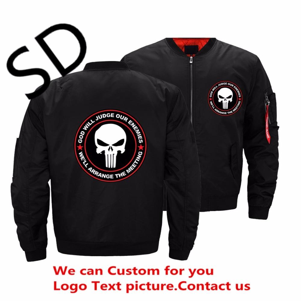 Дропшиппинг Каратель куртка с черепом с Бог будет судить наши враги мужская куртка-бомбер куртка и пальто casacas hombre хип-хоп куртка 5XL