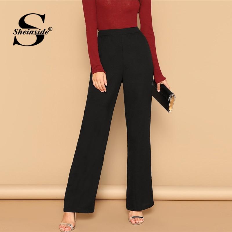 Sheinside Black Solid Wide Leg Pants & Capris Female Mid Waist Trousers Office Ladies Workwear 2019 Autumn Long Women Pants