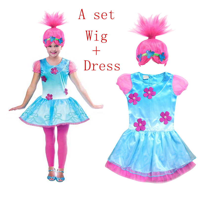 Retail Troll Wig +dresses set Children Costumes For Girls Carnival Kids Costumes Moana Vaiana Dress Trolls Clothes Poppy Party