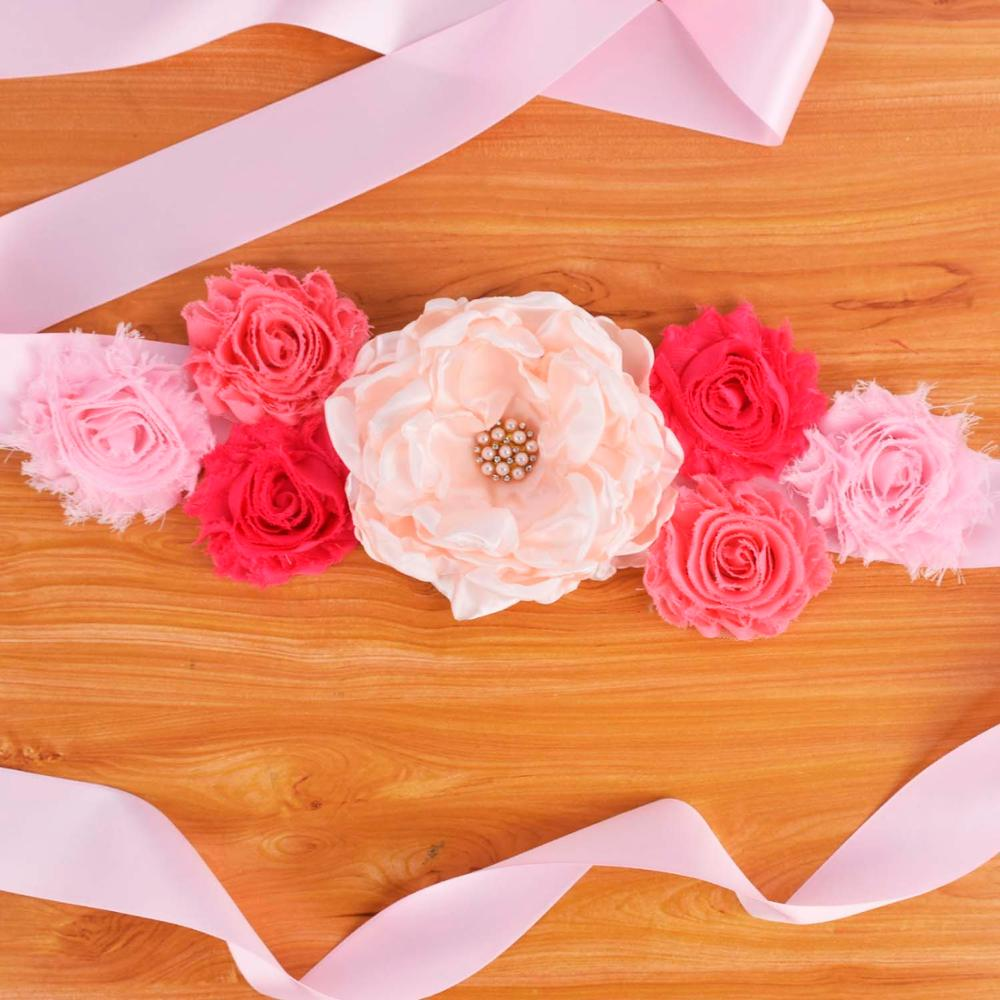 Fashion Pink Flower Sash Woman Vintage Sash Wedding Fancy Waistband Pregnancy Belly Belt Baby Shower Party Maternity Photo Props
