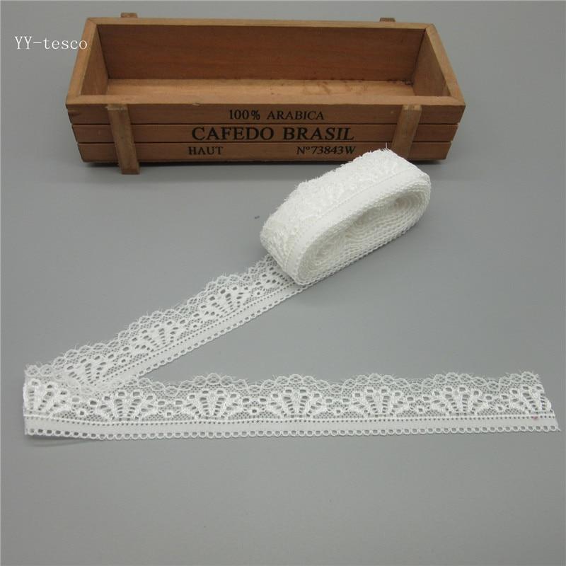 10 двор красивый высокого качества эластичная Стретч белый кружевной ленты французский Африки кружевной отделкой для швейных принадлежностей широкий