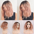 2016 180%Density Light Pink As Smoke Ombre Hair Synthetic Lace Front Wig Water Wave Short Bob Hair Heat Resistant Free Shipping