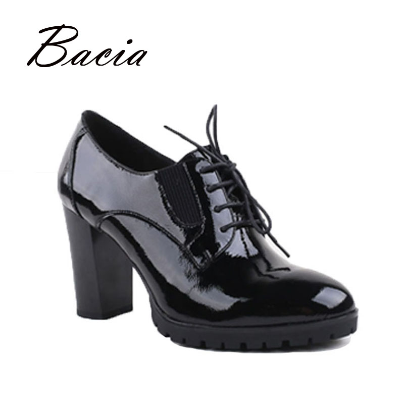 Bacia - genuine leather, patent leather high heels women pumps, 9cm sexy high-heels for woman, 36-40, Handmade Black Shoes VC021 bacia women shoes black patent leather ladies high heels shoes with bowknot thick heel pumps genuine leather lady shoes sb075