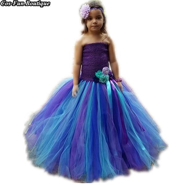 Us 37 04 Princess Tutu Mermaid Ariel Costume Halloween Girls Dresses Flower Kids Birthday Party Dress Fancy Girl Clothes Vestido K033 In Dresses