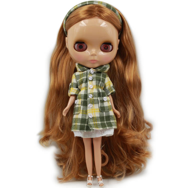 Blyth Nude Doll Long Wavy Brown Hair Central Cut tan skin Normal Body DIY toy No