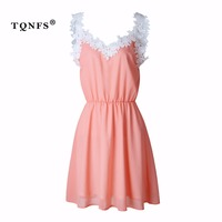 TQNFS New Fashion Deep V Neck Backless Chiffon Dress Lace Sleeveless Women Casual Summer Mini Dress